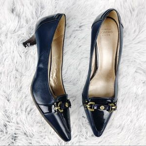 Joan & David Luxe Circa Navy Blue Kitten Heel Pump